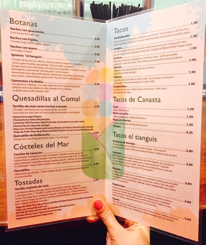 menu el tianguis barcelona