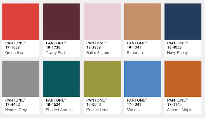 Pantone's Top 10 Colors for Fall 2017. New York.