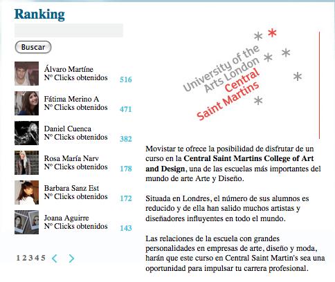 ranking concurso movistar