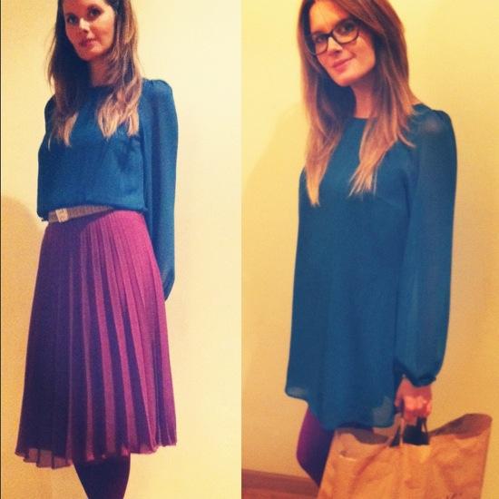 primark look vestido azul falda plisada