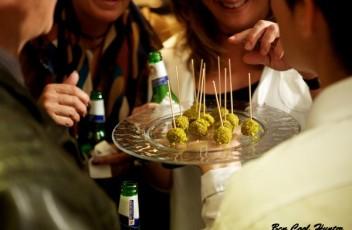 Bombón veneciano de foie, mortadella y pistacho.