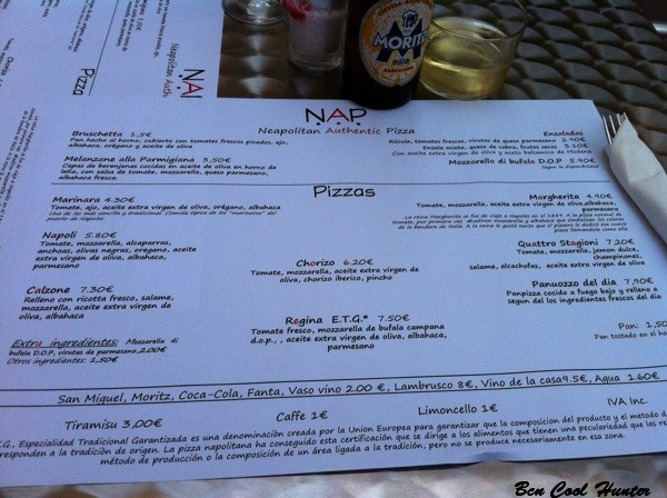 nap carta menu pizzas