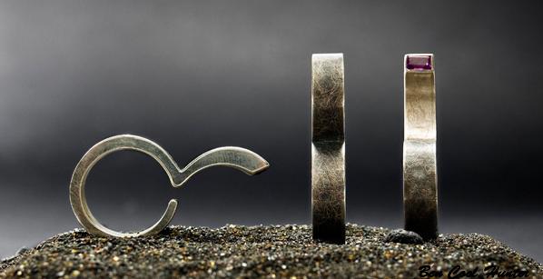 Joyas Escuela colección privada: Anillo 'Hop' en plata, oxido y amatista
