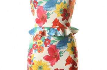 LOVE Millie Print Peplum Scuba Dress
