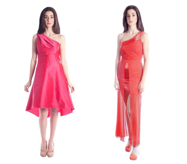 veneno piel vestido rosa coral