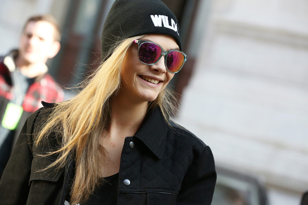 Cara Delevigne wearing Carrera 5001 sunglasses