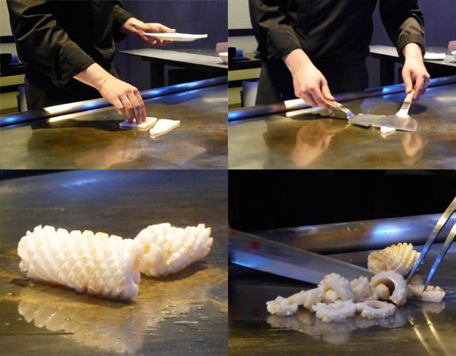 Preparación calamar Room chef iki barcelona