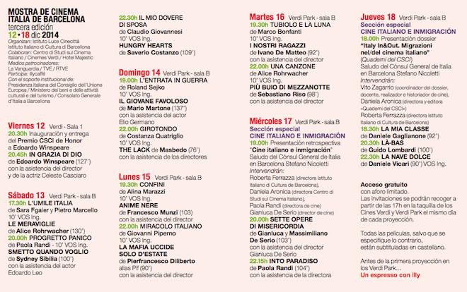 programa mostra cinema italiano 2014