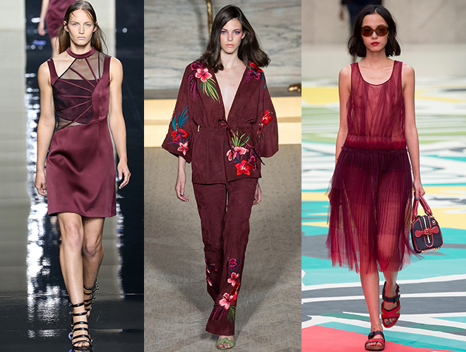 Total look Marsala: Matthew Williamson, Burberry s/s 2015