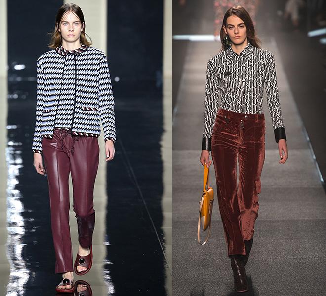 Pantalones Marsala y geometrias Christopher Kane, Louis Vuitton s/s 2015