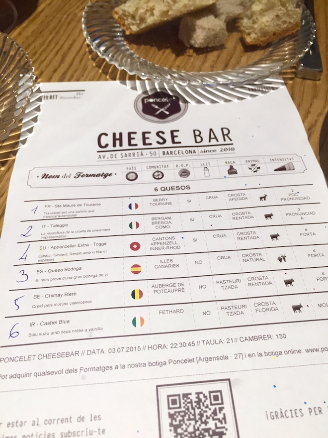 poncelet cheese bar bcn carta