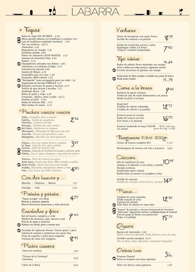 carta restaurante labarra barna