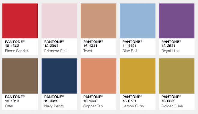 Los Colores de Moda para el otoño invierno 2017-18 del Pantone ...