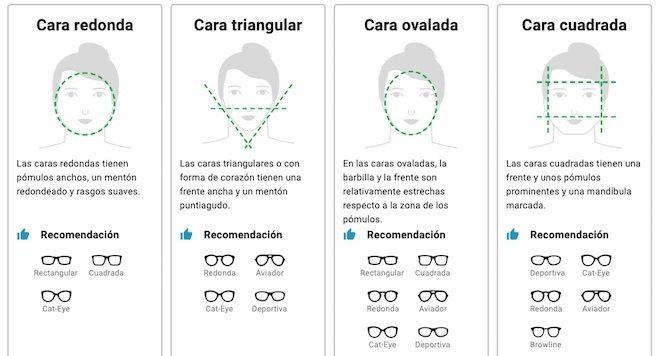 escoger gafas segun forma de la cara